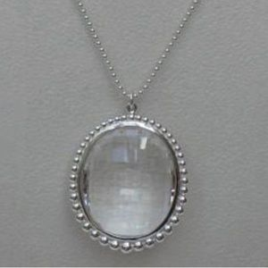Silver and Clear Rock Crystal Oval Pendant